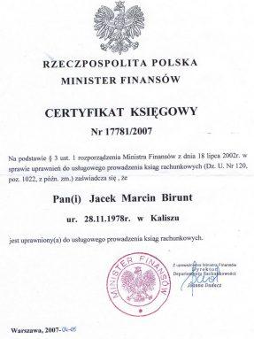 certyfikat księgowy z 2007 r.