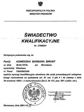certyfikat księgowy z 2001 roku